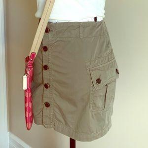 ZARA Basic Olive Khaki Green Button up Mini Skirt